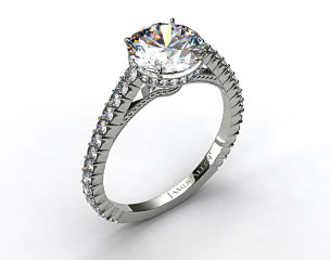 14k White Gold Pave Basket XE110 by Danhov Designer Engagement Ring